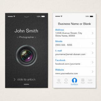 estilo do iOS do iPhone - fotografia da objectiva Cartão De Visitas