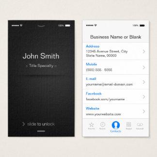 estilo do iOS do iPhone - preto e branco genérico Cartão De Visitas