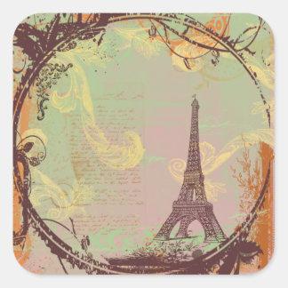Estilo do vintage da torre Eiffel Adesivo Quadrado