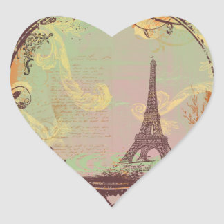 Estilo do vintage da torre Eiffel Adesivo De Coração