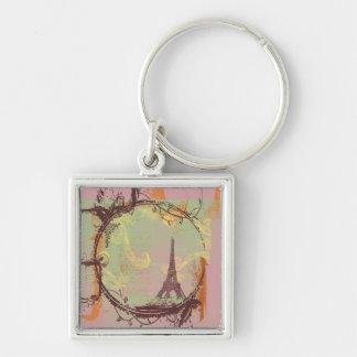 Estilo do vintage da torre Eiffel Chaveiro Quadrado Na Cor Prata