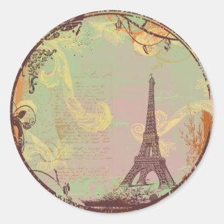 Estilo do vintage da torre Eiffel no rosa Adesivo