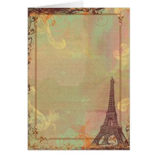 Estilo do vintage da torre Eiffel no rosa Cartão Comemorativo