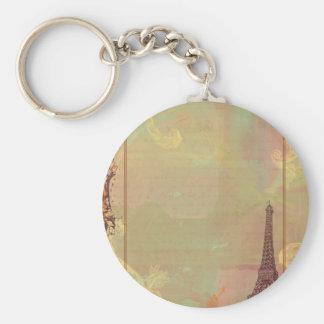 Estilo do vintage da torre Eiffel no rosa Chaveiro
