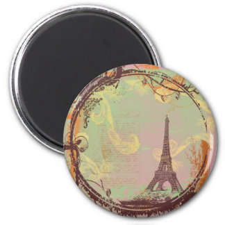 Estilo do vintage da torre Eiffel no rosa Ímã Redondo 5.08cm