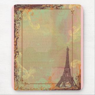 Estilo do vintage da torre Eiffel no rosa Mouse Pad