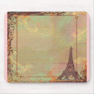 Estilo do vintage da torre Eiffel no rosa Mousepad