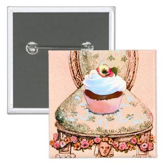 Estilo do vintage do cupcake e da cadeira botons