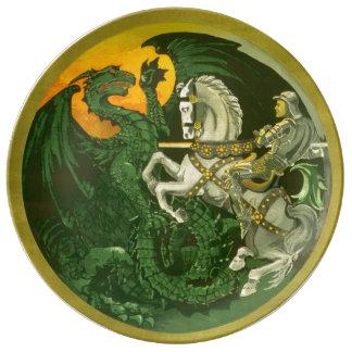 Estilo do vintage do dragão de St George Louça