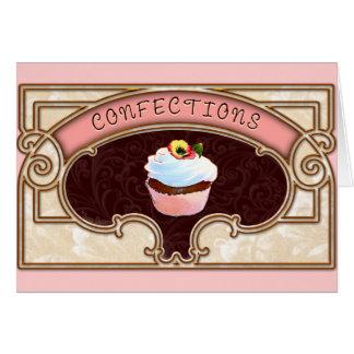 Estilo do vintage dos doces do cupcake cartão comemorativo