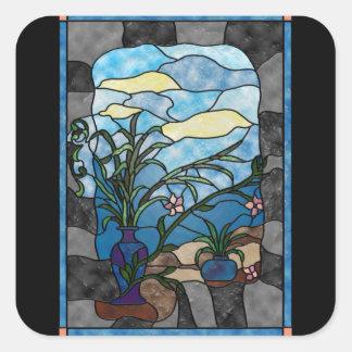 Estilo do vitral do vintage da planta do vaso de adesivo quadrado