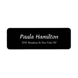 Estilo feminino do preto elegante moderno do etiqueta endereço de retorno