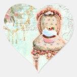 Estilo francês do Victorian do cupcake Adesivo Em Forma De Coração