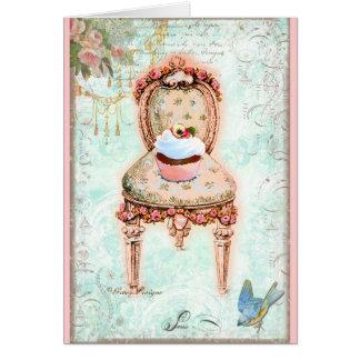 Estilo francês do Victorian do cupcake Cartoes