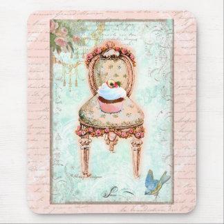 Estilo francês do Victorian do cupcake Mouse Pad