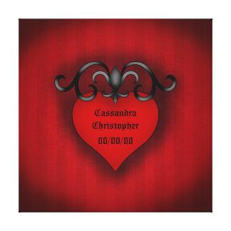Estilo medieval gótico do coração vermelho românti impressão em tela