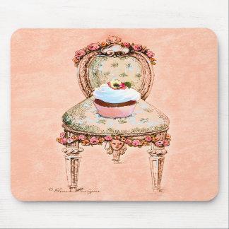 Estilo Mousepad do vintage do cupcake e da cadeira