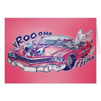 estilo nupcial cor-de-rosa dos desenhos animados cartão comemorativo