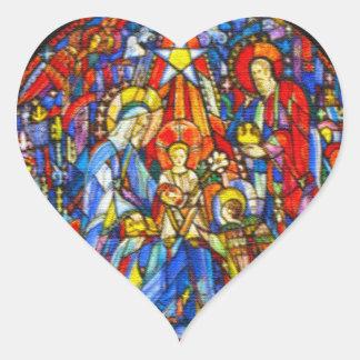 Estilo pintado natividade do vitral adesivo coração