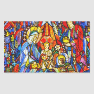 Estilo pintado natividade do vitral adesivo retangular