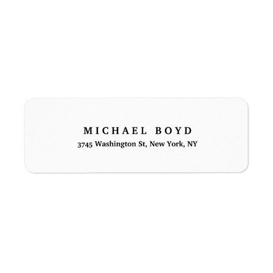 Estilo retro original branco preto clássico etiqueta endereço de retorno