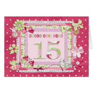 estilo scrapbooking do 15o aniversário cartão comemorativo