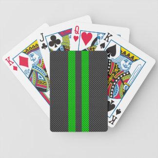 Estilo verde vibrante da fibra do carbono que jogo de baralho