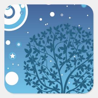 Estilos coloridos do design da árvore e do céu adesivo quadrado