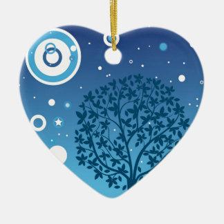 Estilos coloridos do design da árvore e do céu ornamento de cerâmica coração