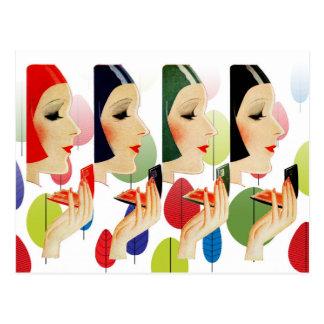 Estojos compactos cosméticos chiques e coloridos cartão postal