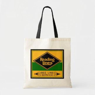 Estrada de ferro da leitura, linha serviço da sacola tote budget