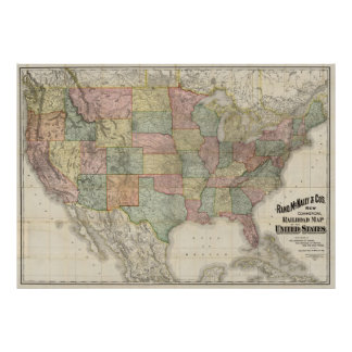 Estrada de ferro Mapa dos Estados Unidos do Pôster