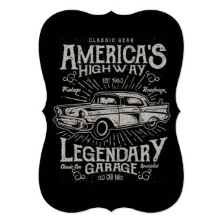 Estrada do carro | Hotrod americano clássico do Convite 12.7 X 17.78cm
