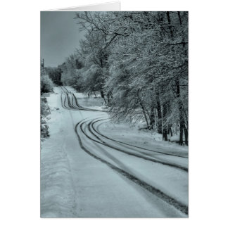 Estrada do inverno cartão comemorativo