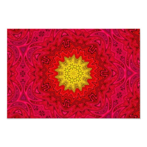 Estrela amarela na mandala vermelha fotografia