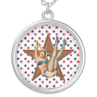 Estrela americana do pinup colar banhado a prata