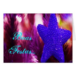 Estrela azul de Ano Novo do feliz de Festas e das Cartão Comemorativo