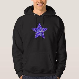 Estrela azul e roxa das estrelas moletom com capuz