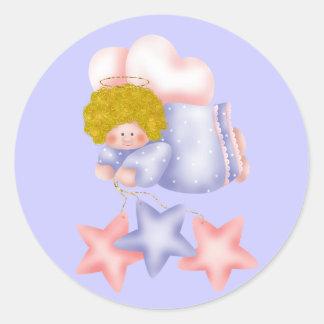 Estrela bonito 1 do anjo adesivos redondos