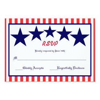 Estrela branca & azul vermelha - cartão de RSVP