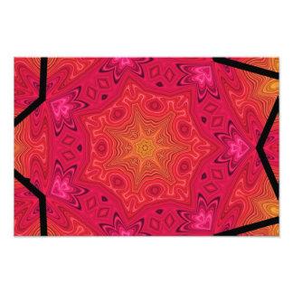 Estrela da mandala em cor-de-rosa, em alaranjado,  impressão de foto