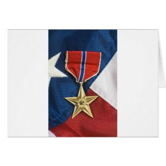 Estrela de bronze na bandeira americana cartões