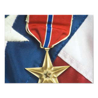 Estrela de bronze na bandeira americana convite personalizado