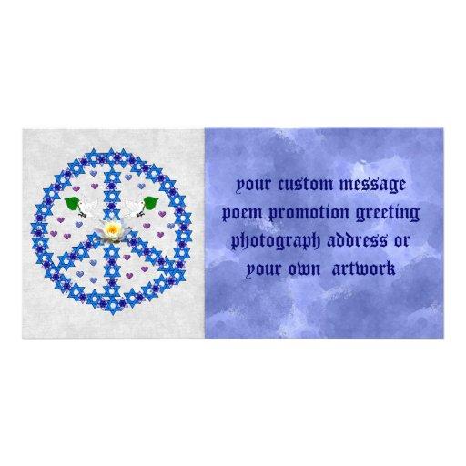 Estrela de David da paz Cartao Com Fotos Personalizado