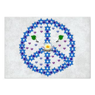 Estrela de David da paz Convite 12.7 X 17.78cm