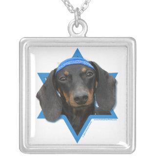 Estrela de David de Hanukkah - Dachshund - Winston Colar Com Pendente Quadrado