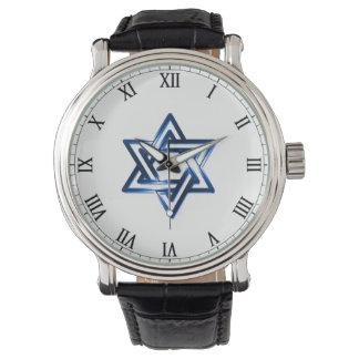 Estrela de David no relógio dos homens azuis