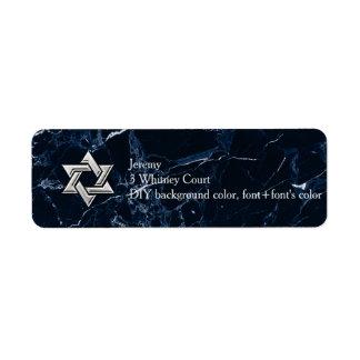 Estrela de mármore azul da meia-noite de etiqueta endereço de retorno