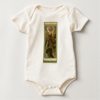 Estrela de noite por Alphonse Mucha Body Para Bebê