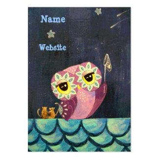 Estrela de queda da captura A da arte da coruja Cartão De Visita Grande